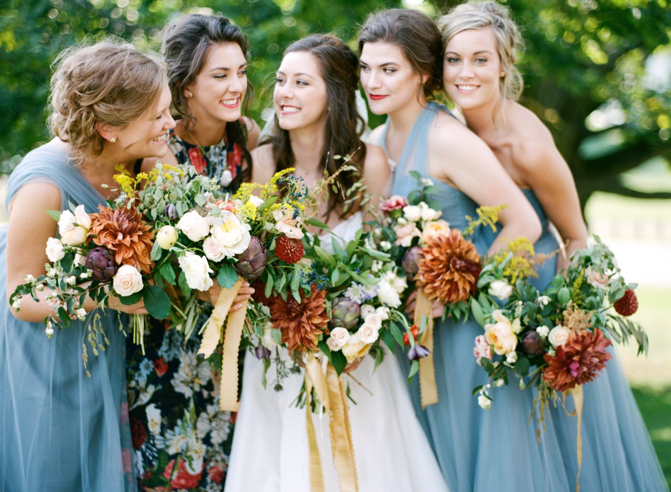 Jenny Yoo Dusty Blue bridesmaids dresses | The Day's Design Floral | Holland Michiagn Wedding | The Felt Mansion Holland Michigan Wedding Ceremony | Cory Weber Photography