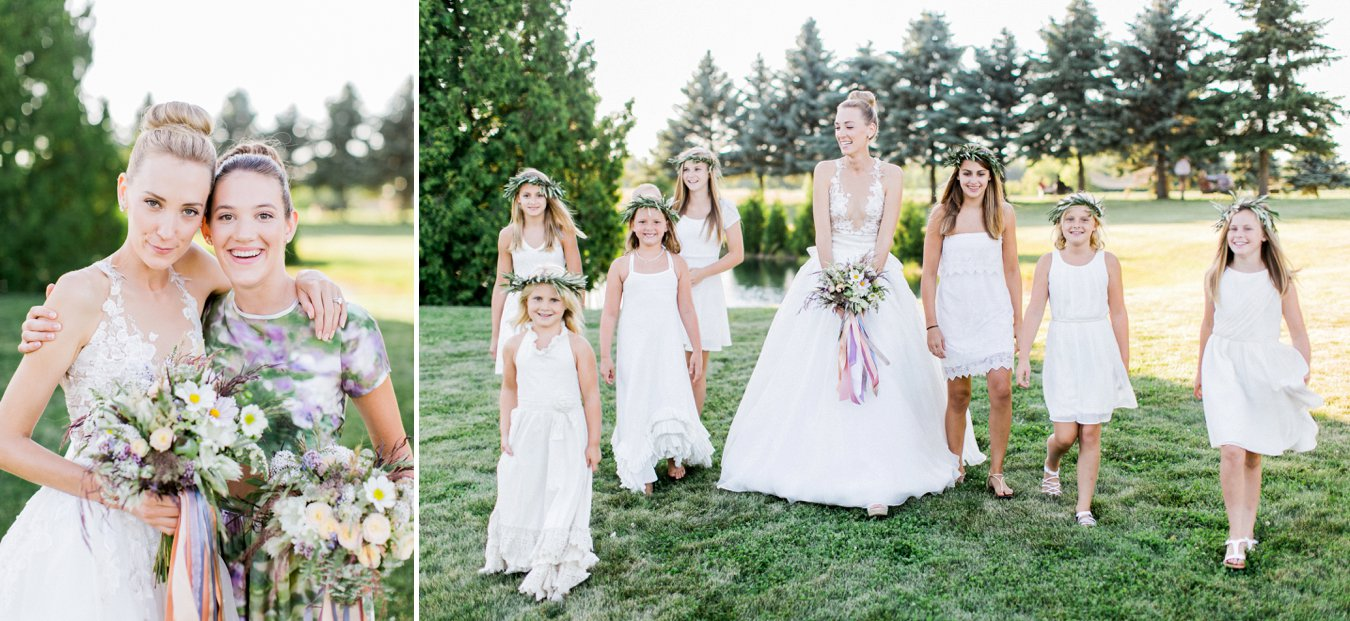 Floral bridesmaid dress | Flowergirls with floral crowns | Cory Weber Photography
