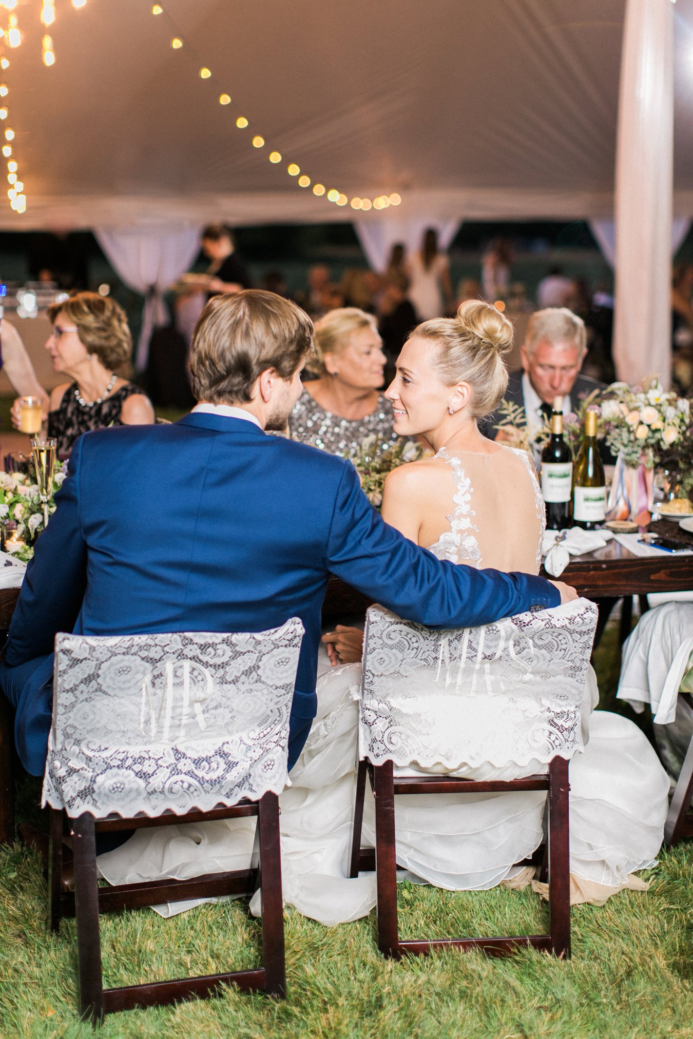Lace Mr. and Mrs. Chair covers | Cory Weber Photography